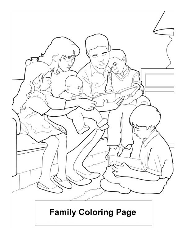 Family Read Book Coloring Page : Coloring Sky