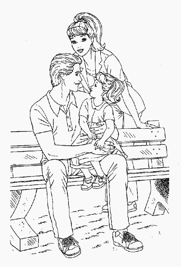 Family Sitting On Bench Park Coloring Page : Coloring Sky