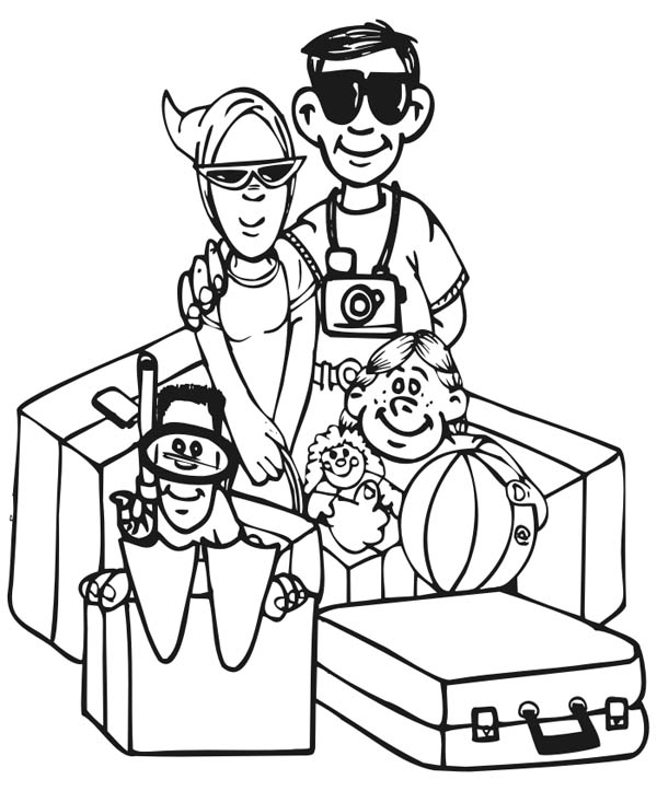 Family Vacation Picture Coloring Page : Coloring Sky