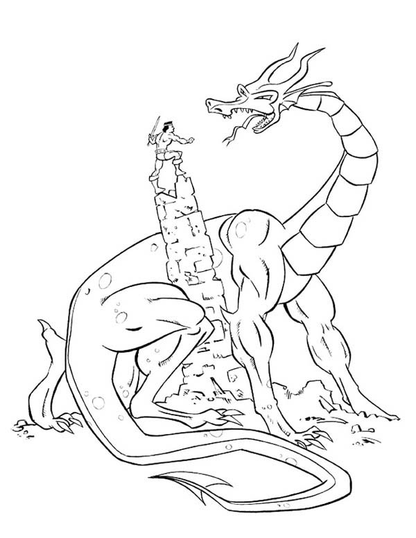 Fantasy Journey Knight Fight With A Dragon Coloring Page