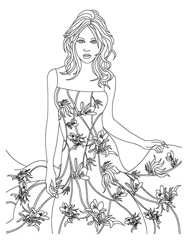 Fashion Model Wear Floral Theme Dress Coloring Page