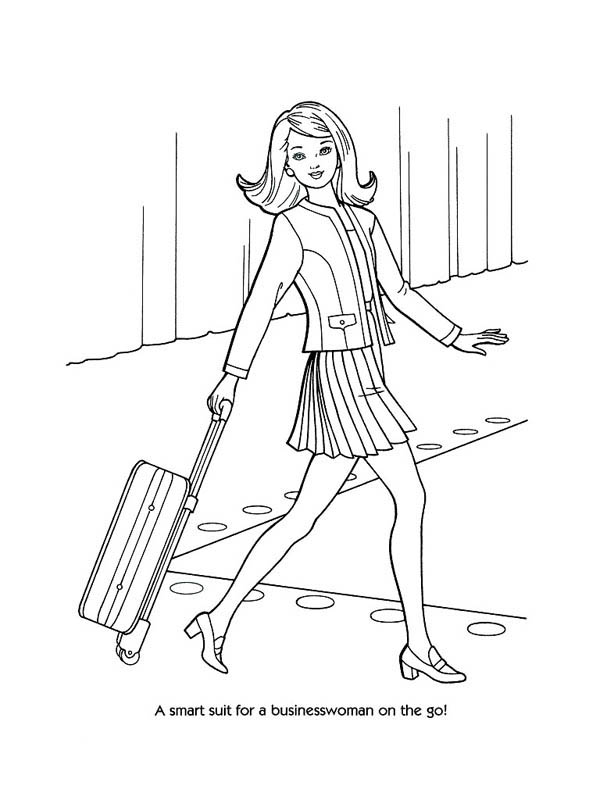 Fashion Model For Business Woman Suit Coloring Page