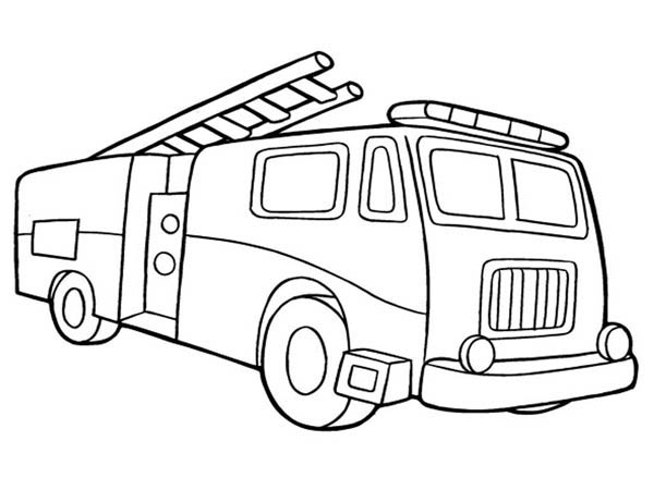 Fire Truck Coloring Page For Kids : Coloring Sky