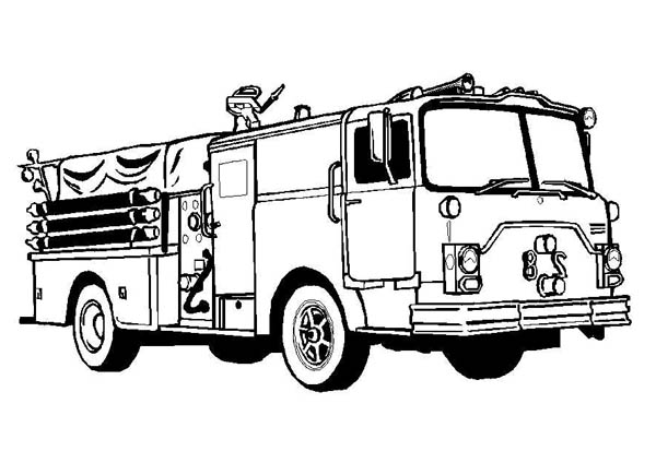 Firefighter Awesome Fire Truck Coloring Page : Coloring Sky