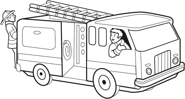 Firefighter Get O The Fire Truck Coloring Page : Coloring Sky