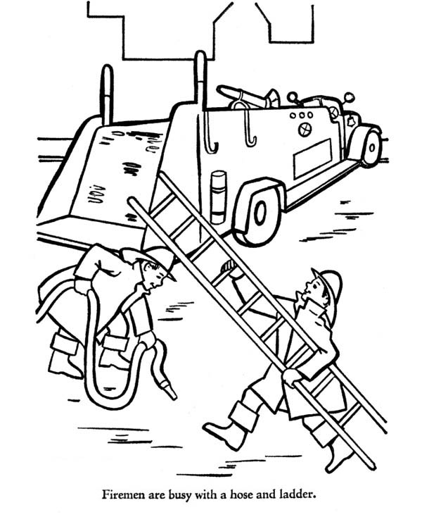 Fireman Bring Hose And Ladder To Fire Truck Coloring Page