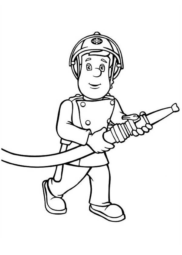 Fireman Sam Bring Hose Coloring Page : Coloring Sky