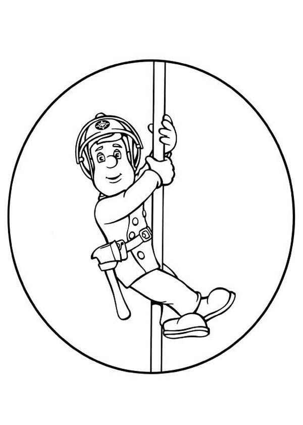 Fireman Sam Came Down Hanging on Pole Coloring Page