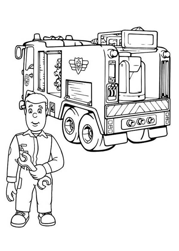 Fireman Sam Checking Fire Truck Engine Coloring Page