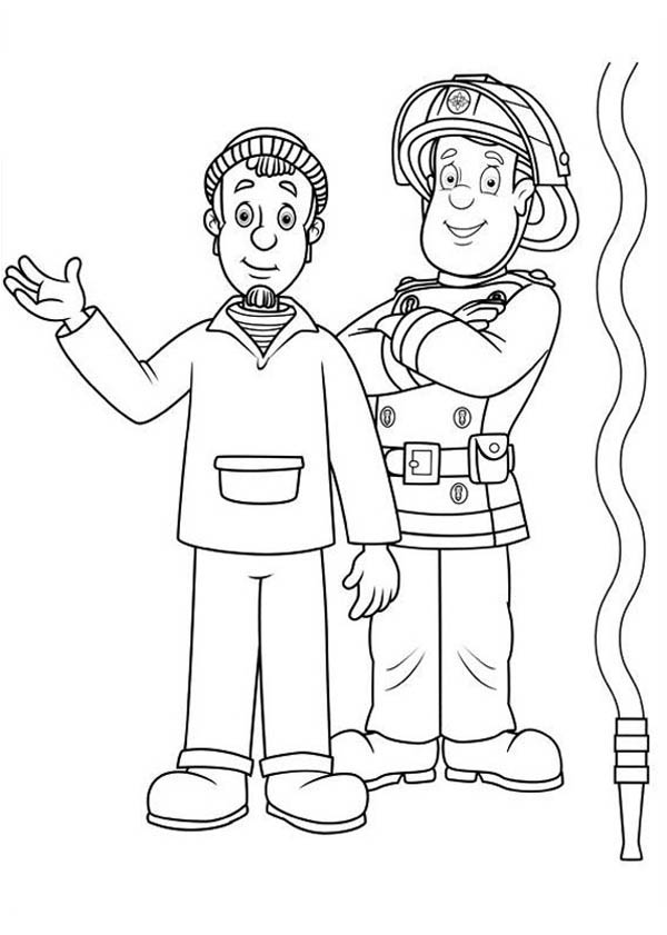 Fireman Sam Helping People From Fire Hazard Coloring Page