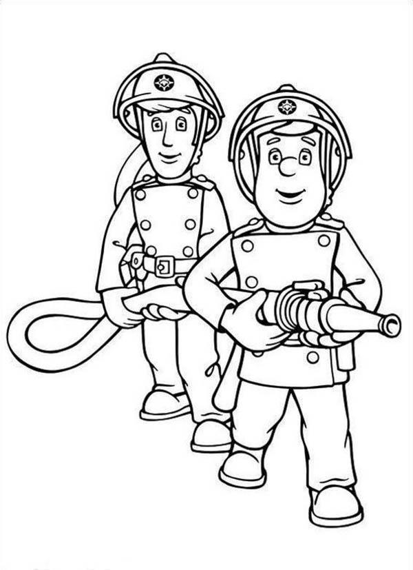 Fireman Sam and Elvis Cridlington Together Hold the Hose