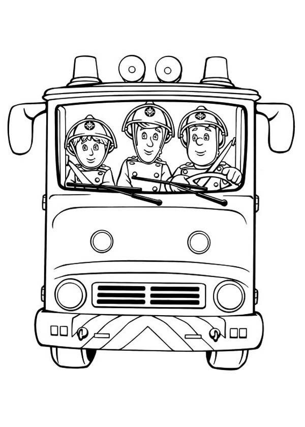 Fireman Sam and Friends on Fire Trucks Coloring Page