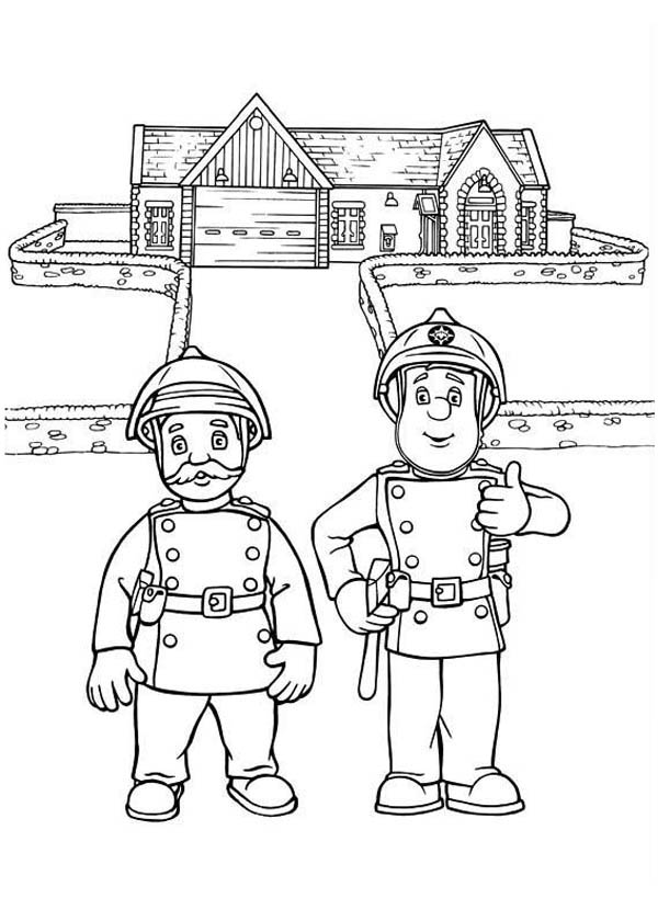 Fireman Sam And His Senior Fire Officer Steele Coloring