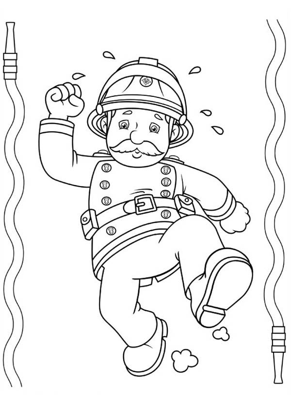 Fireman Sam Is Tired After Extinguishing Fire Coloring