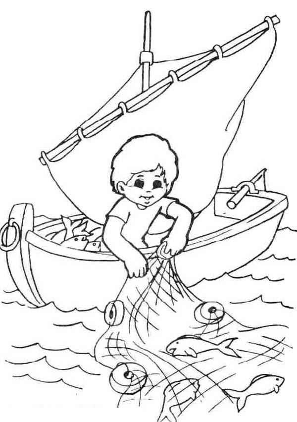 Fisherman Catching Fish With Fishing Net Coloring Page