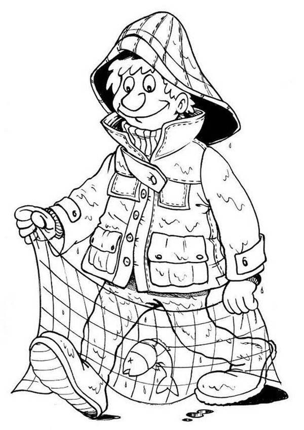 Fisherman Caught Fish Coloring Page : Coloring Sky