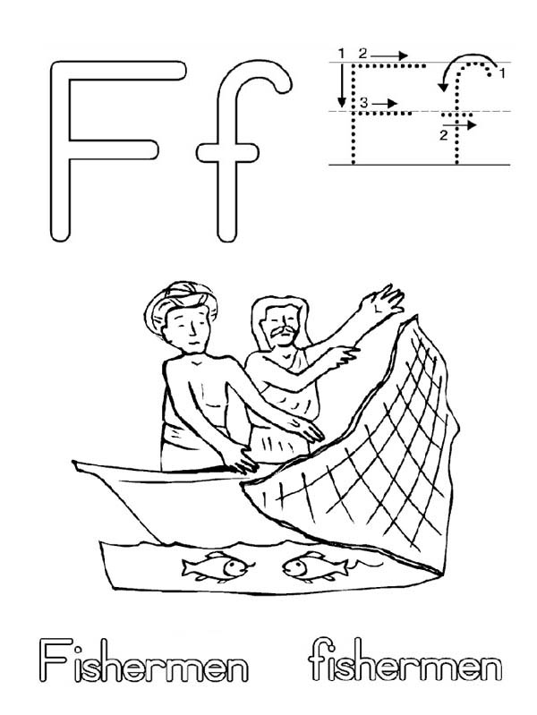 Fisherman Fish Net Coloring Page : Coloring Sky