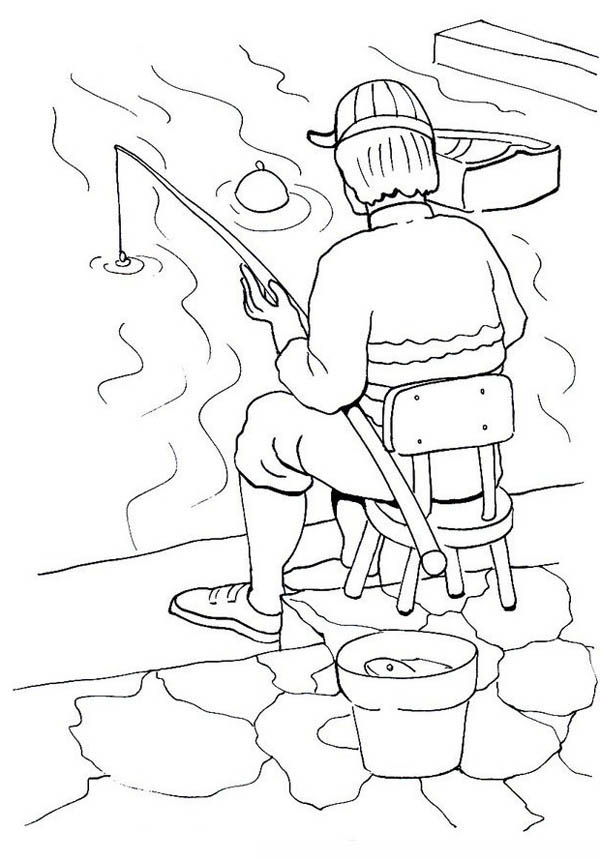 Fisherman Fishing In The River Coloring Page : Coloring Sky