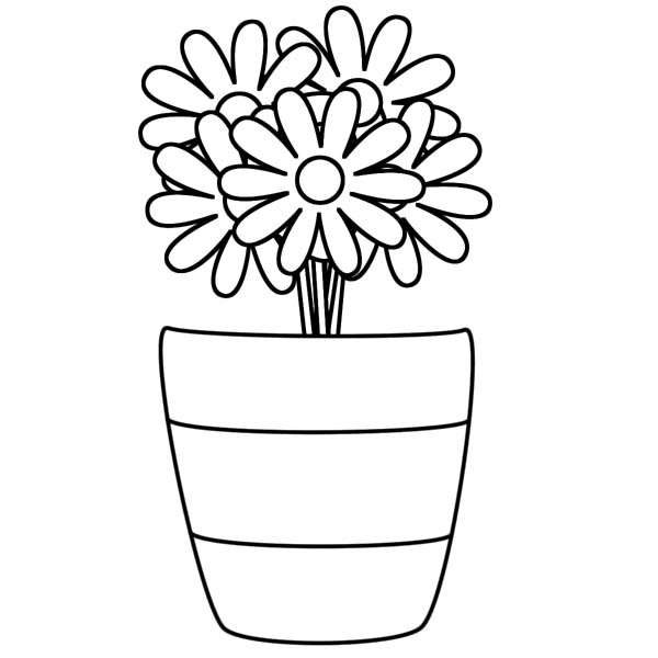 Flower Vase Coloring Page : Coloring Sky