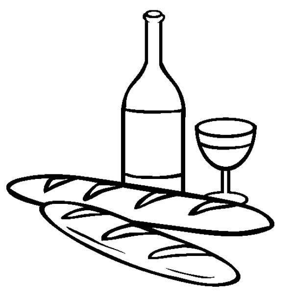 French Bread And Wine Coloring Page : Coloring Sky