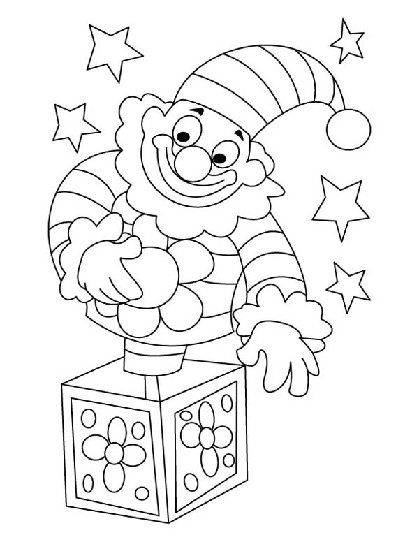 Funny Clown Jack In The Box Coloring Page : Coloring Sky