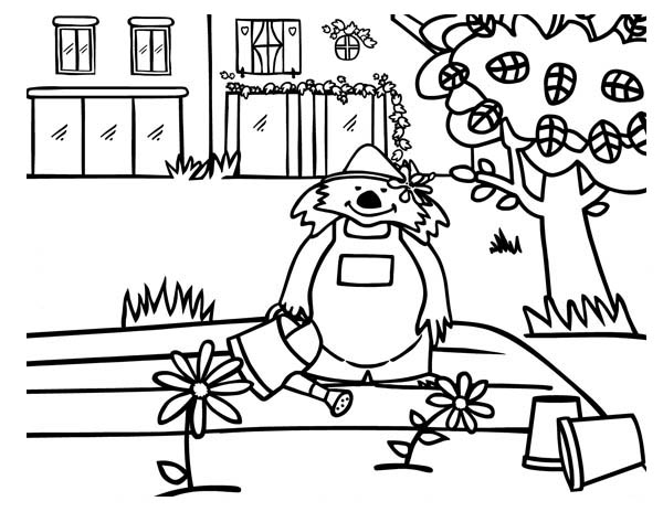 Growing Plants Smiling Bear Coloring Page : Coloring Sky