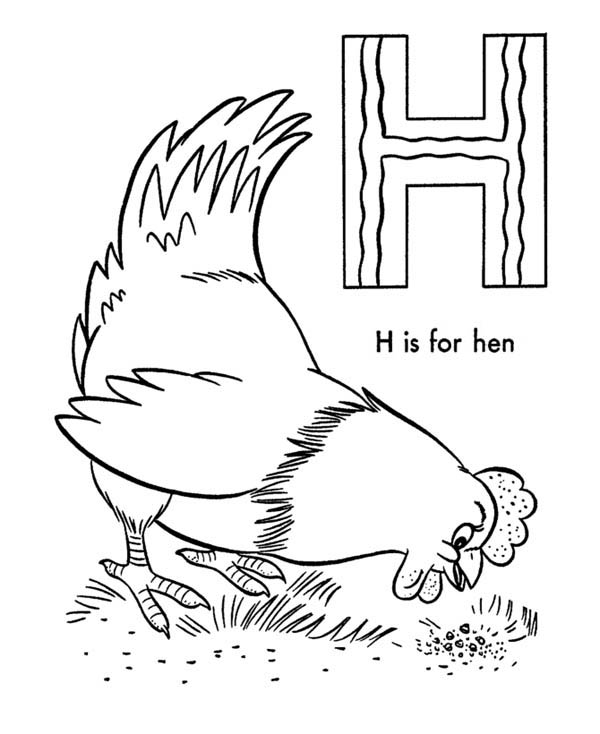 H Is For Hen Coloring Page : Coloring Sky