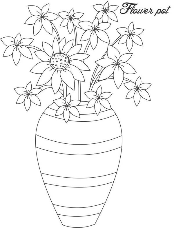 Hand Made Flower Vase Coloring Page : Coloring Sky