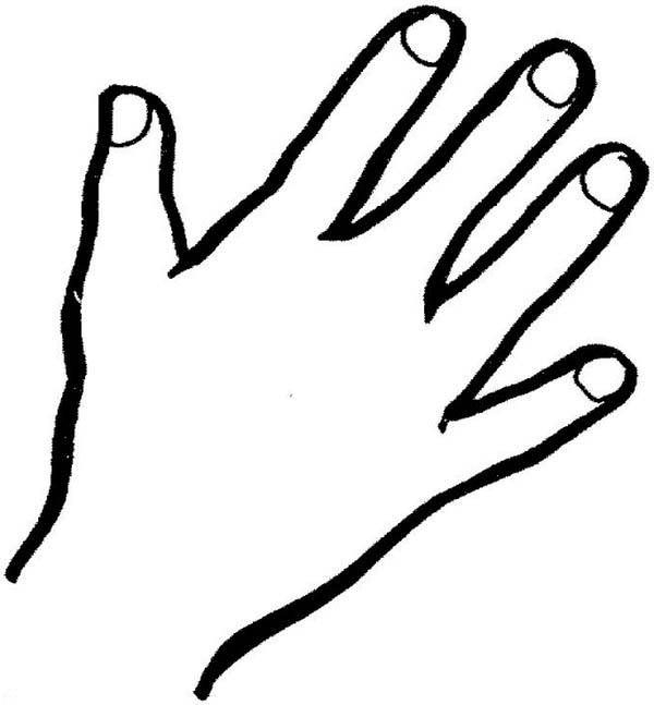 Hand Outline Finger Coloring Page: Hand Outline Finger