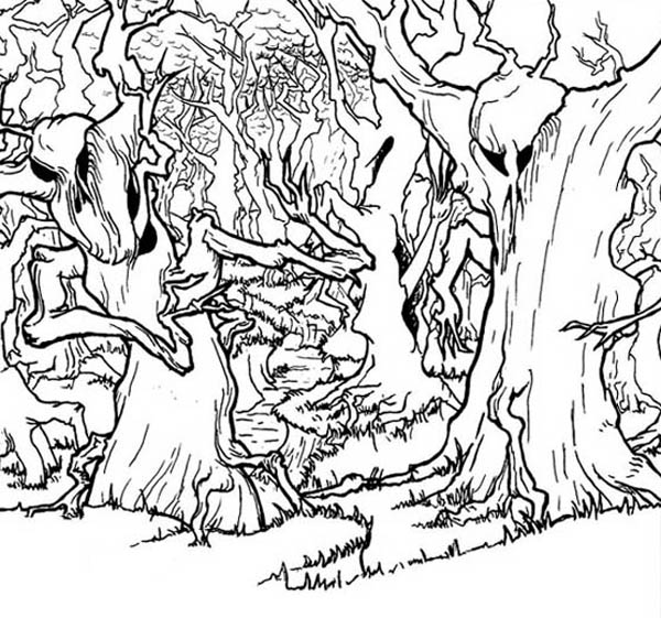 Haunted Forest Coloring Page : Coloring Sky