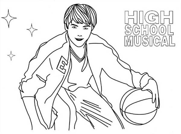 High School Musical Troy Playing Basketball Coloring Page