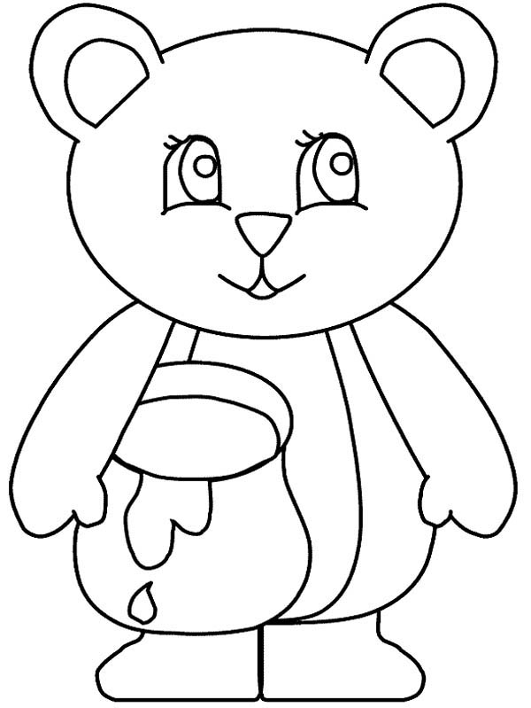 Honey and Bear Coloring Page: Honey and Bear Coloring Page