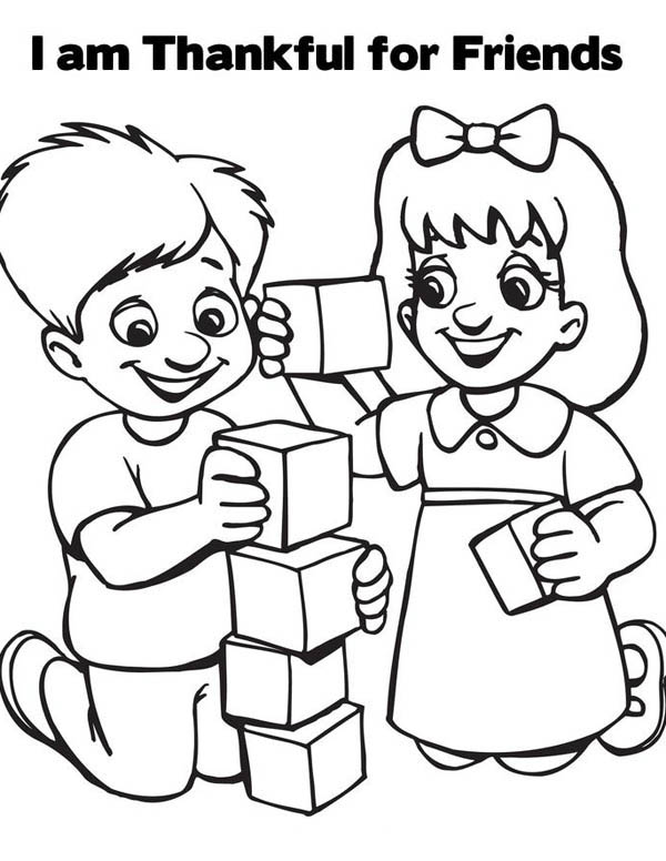 I am Thankful for Friends on Friendship Day Coloring Page