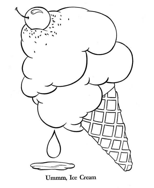 Ice Cream With Cherry On Top Coloring Page : Coloring Sky