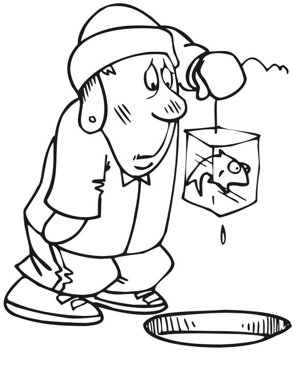 Ice Fishing Fisherman Coloring Page : Coloring Sky