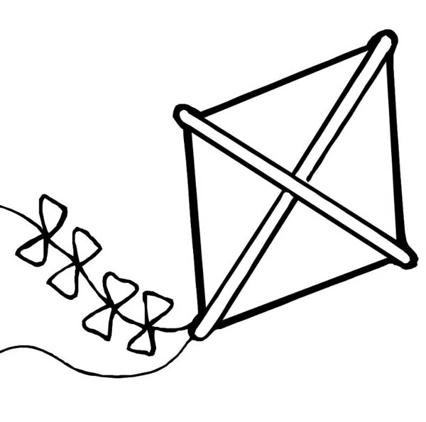 In Summer We Play Kite at Kindergarten Coloring Page: In