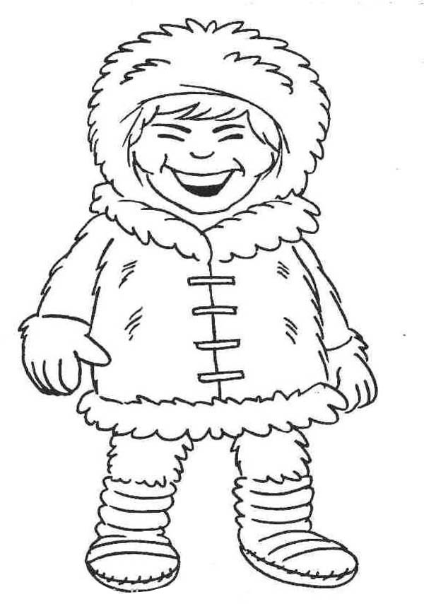Inuit Little Girl Laughing Coloring Page : Coloring Sky