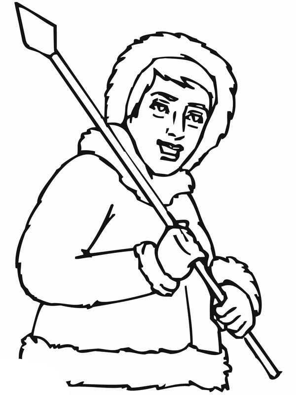 Inuit With Sharp Spear Coloring Page : Coloring Sky