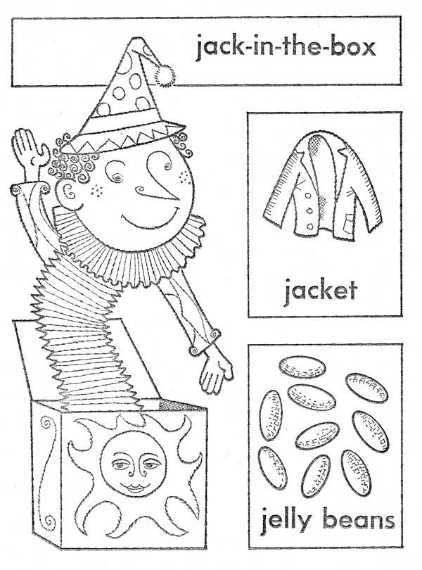 Jack In The Box With Jelly Beans And Jacket Coloring Page