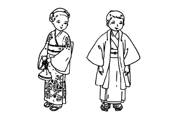 Japanese Children from Kids Around the World Coloring Page