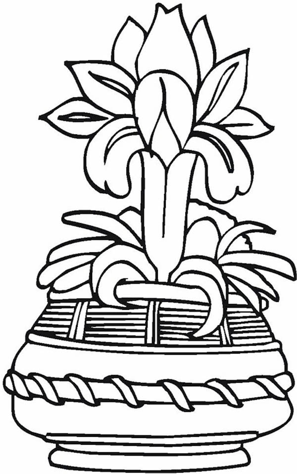 Japanese Flower Vase Coloring Page : Coloring Sky