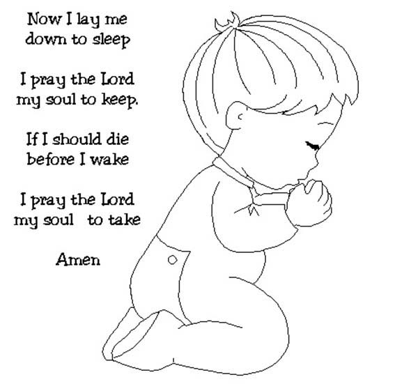 Kid Kneeling and Doing Lords Prayer Coloring Page