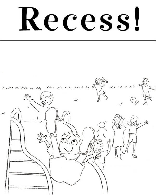 Kindergarten Kids Play At Recess Time Coloring Page