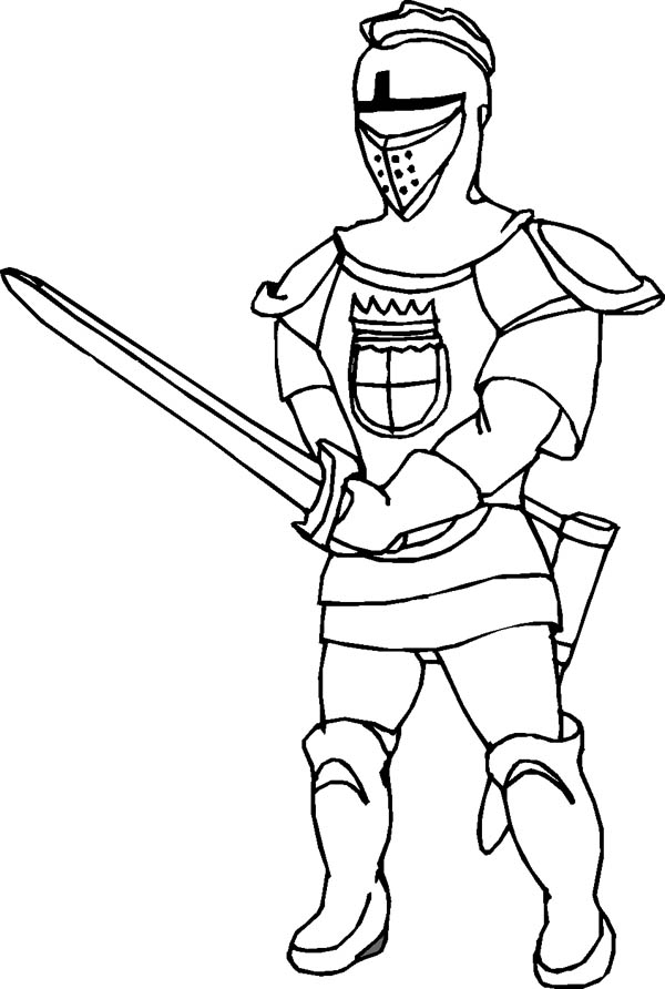 Knight Sword Fighting Coloring Page: Knight Sword Fighting