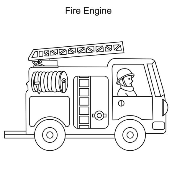 Learn About Fire Truck and Firefighter Coloring Page