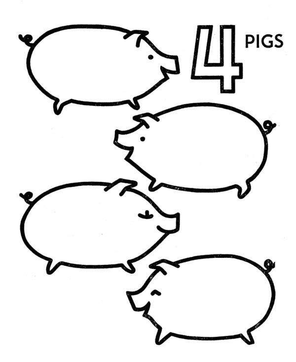 Learn To Count At Kindergarten Four Pigs Coloring Page