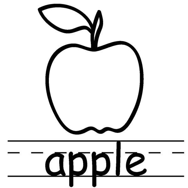 Letter A Is For Apple Coloring Page : Coloring Sky