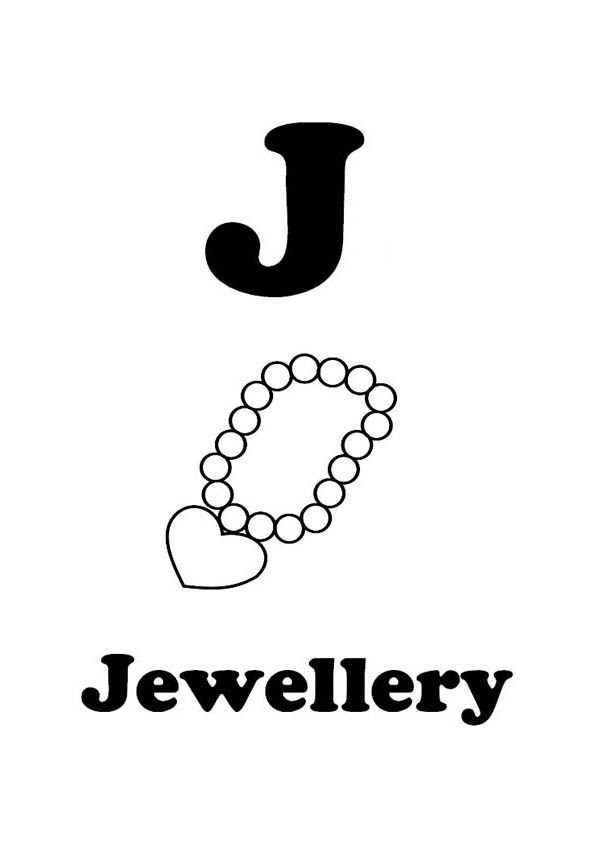 Letter J Is For Jewelry Coloring Page : Coloring Sky