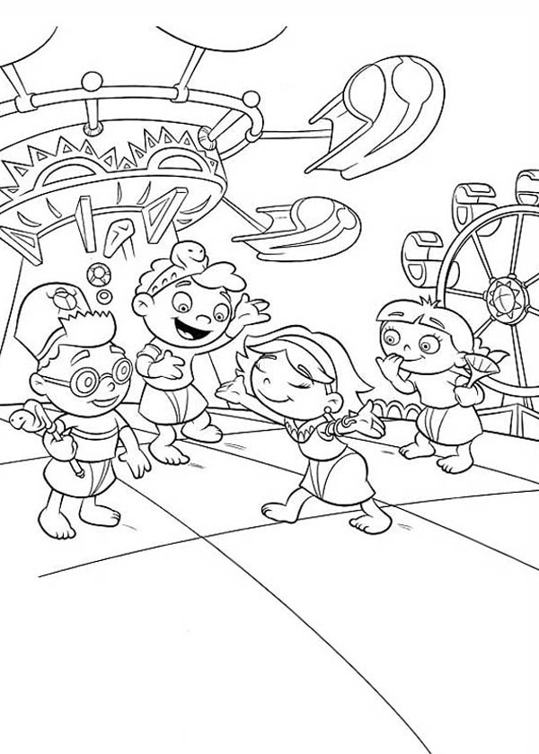 Little Einstein Having Fun at Play Ground Coloring Page