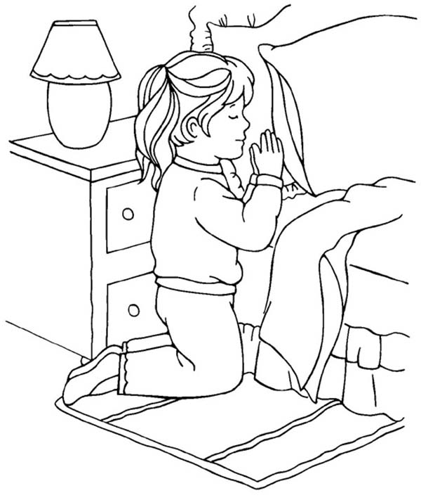 Little Girl Devoted Doing Lords Prayer Coloring Page